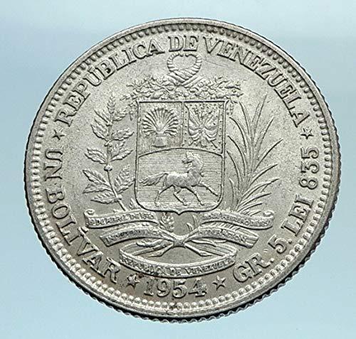 1954 unknown 1954 Freemason President Simon Bolivar VENEZUELA coin Good Uncertified