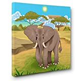 Safari Elephant Illustration CANVAS Wall Art Home Décor