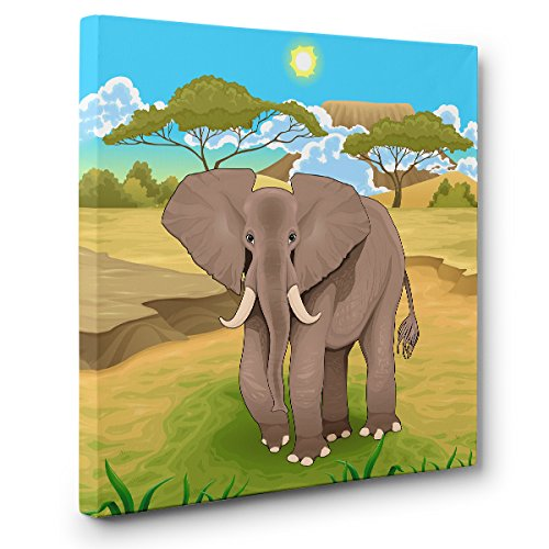 Safari Elephant Illustration CANVAS Wall Art Home Décor by Paper Blast