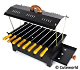 Cuteworld Barbeque Grill | Travel Essentials | Hut Shaped Barbeque with 8 Skewers Charcoal Grill Compact BBQ Black Iron Barbecue
