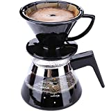 SYY-US Coffee Pot Set Ceramic Filter Cup with Glass Pot Household Hand Coffee Pot Teapot Multi-Function Drip Type Thin Mouth Pot with Handle