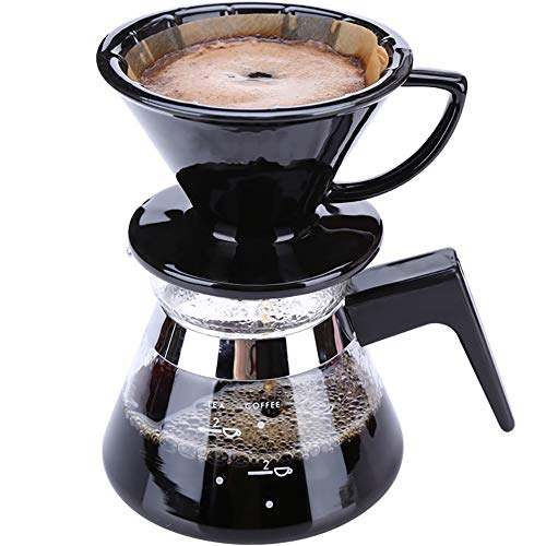 SYY-US Coffee Pot Set Ceramic Filter Cup with Glass Pot Household Hand Coffee Pot Teapot Multi-Function Drip Type Thin Mouth Pot with Handle by SYY-US (Image #2)