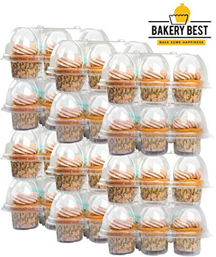 BAKERY BEST [12 Pack X 6 Counts] Cupcake Carrier Holds 6 Cupcakes | Unhinged Lid | Plastic Holder, Container, Storage Tray | Interlocking Trays | Reusable | Transport 72 cupcakes or muffins]()