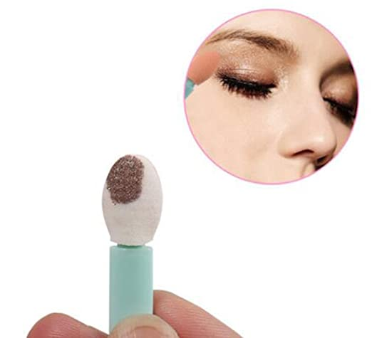 24Pcs By a Box Single Sided Eye Shadow Sponge Applicator Oval Tipped Eyeliner Brush Makeup Tool Plastic Handle with Skin Color Sponge Brush(Color Random)