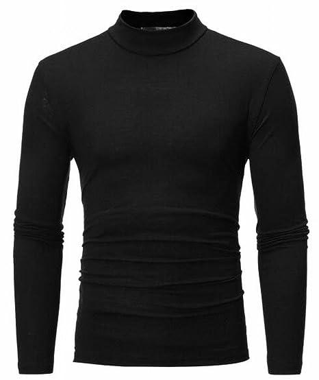 11acaffab ZXFHZS Men's Premium Heavyweight Long Sleeve Mock Neck T-Shirt ...