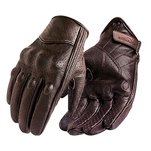 Hake Protective Men Motorcycle Gloves Leather Touch Screen Motorbike Racing Cycling Glove Perforated Brown S