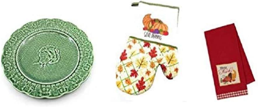 Ceramic Stoneware Turkey Plate Made in Portugal with Give Thanks Oven Mitt and Kitchen Towel