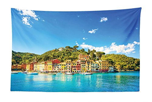 Lunarable Village Tapestry, Mediterranean European Town by The Sea Portofino Italian Harbor Panorama View, Fabric Wall Hanging Decor for Bedroom Living Room Dorm, 45 W X 30 L inches, Blue (Portofino Tapestry Wall Hanging)