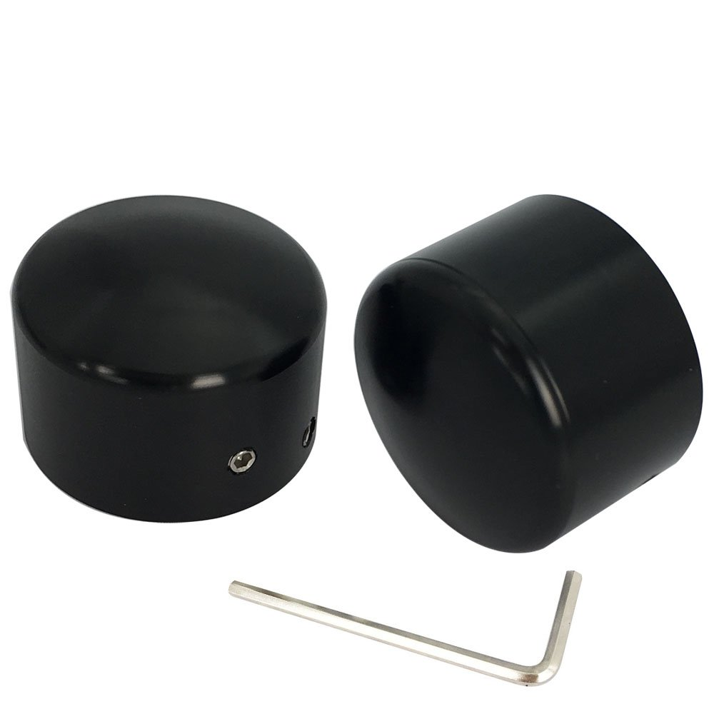 Black Front Axle Nut Cover Axle Caps For Harley Softail Electra Road Glides Sportster