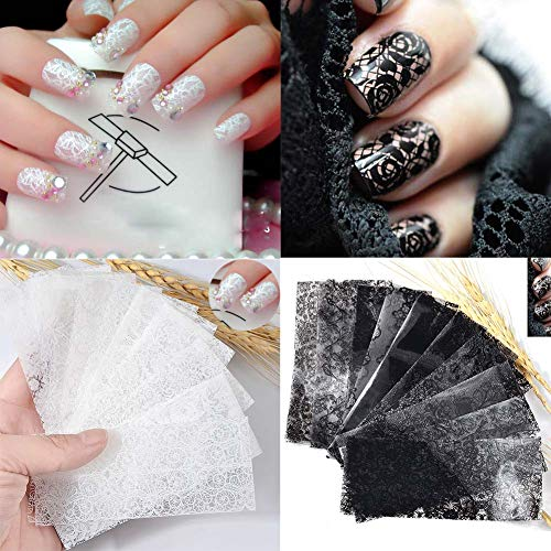 Lookathot 20 Sheets Lace Nail Art Stickers Decals Mixed color Star Foil Paper Printing Nail DIY Decoration Tools (Black+White(20 Sheets))