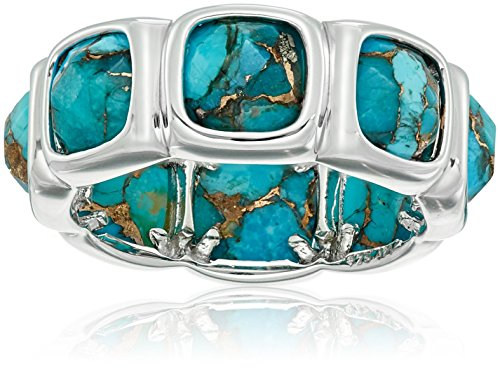 emporary Bezel Set Design with Special Cut Bronze Compressed Turquoise Eternity Ring, Size 8 (Contemporary Bezel Set)