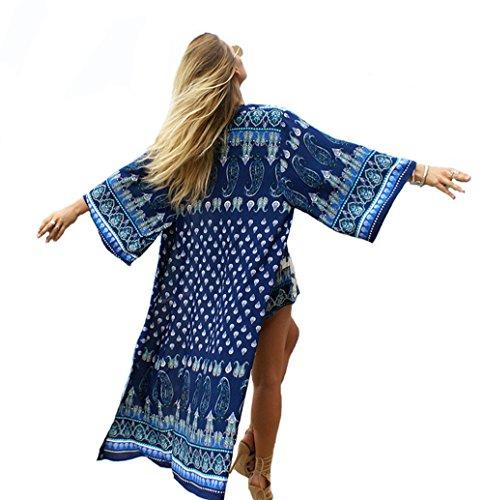Aoqueen Fashion Womens Geometric Printed Long Hem Chiffon Kimono Swimsuit Cover - Australian Gold Sunglasses