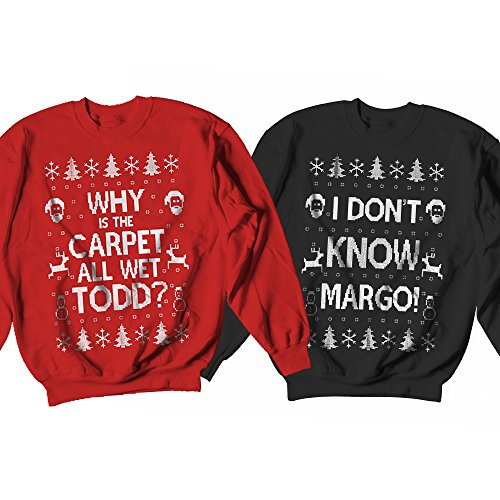 Christmas Pullover - Why is the Carpet All Wet? | I Don't Know Margo, Christmas Ugly Sweater Party 2017 Couple Matching Crewneck Sweatshirt, Christmas Walk Couple Ugly Sweaters - Christmas Gift for Couple | Large - Large