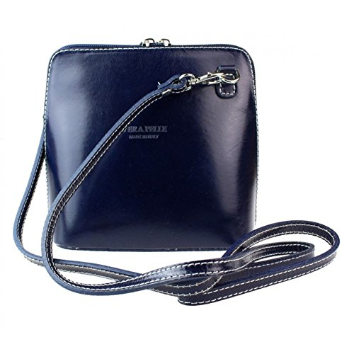 Shoulder Leather Vera Bag Body Bag Genuine Navy or Cross Mini Italian Pelle pwxTqg4