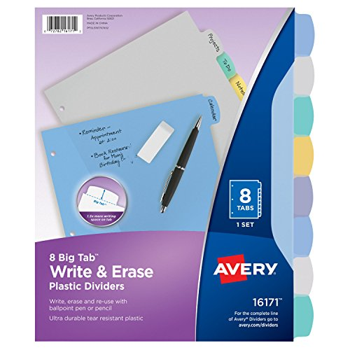 Avery Big Tab Write & Erase Durable Plastic Dividers, 8 Multicolor Tabs, 1 Set (16171)