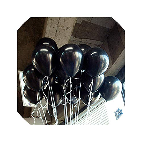 10Pcs 12Inch 2.2G Balloons Helium Balloon Inflatable Wedding Decorations Kids Air Balls Happy Birthday Party Balloon,A15 Black Round,2.2G]()