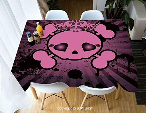 Picnic Tablecloth Cute Skull Illustration with Crown Dark Grunge Style Teen Spooky Halloween Print Decorative (60 X 120 inch) Great for Buffet Table, Parties, Holiday Dinner, Wedding & More.Desktop -