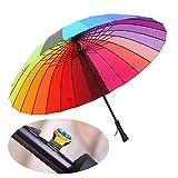 meizhouer 24k Rib Large Color Rainbow Umbrella Fashion Long Handle Straight Anti-UV Sun/Rain Stick Umbrell (fully-automatic)