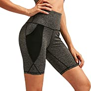 WHIRLGEE Yoga Pants Women's High Waist Shorts Workout Running Cycling Compression Sports Shorts Side Poc