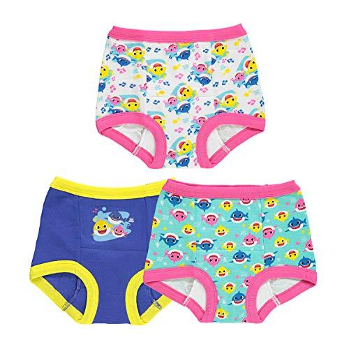 Baby Shark Girls' Toddler, 3pk Potty Training Pant, 18