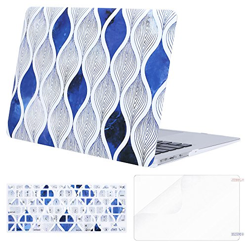MOSISO Plastic Pattern Hard Case Shell with Keyboard Cover with Screen Protector Compatible MacBook Air 13 Inch (Model: A1369 and A1466), Blue & White Vertical Spiral Ripple