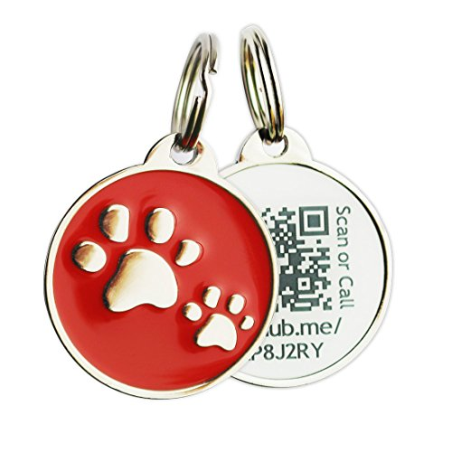 PINMEI Zine Alloy Scannable QR Code Pet Dog Cat ID Tag, Powered by PetHub - Tags Dog Enamel Id