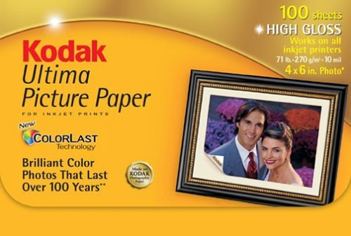 Kodak 8920647 Ultima Picture Paper, High Gloss (4x6, 100 - Gloss High 6 Sheet 100