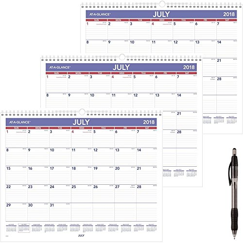 at-A-Glance 2018-2019 Academic Year Wall Calendar, Medium, 15 x 12, Wirebound (AY828) 3 Pack & Paper Mate Black Ballpoint Pen 1 ()