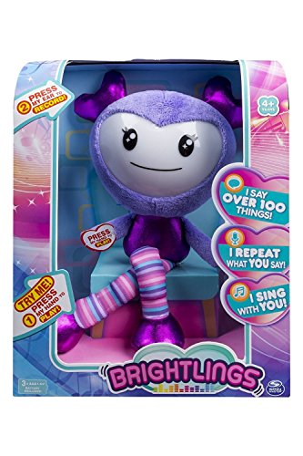"""Brightlings Interactive Singing, Talking 15"""" Plush, by Spin Master - Purple"""