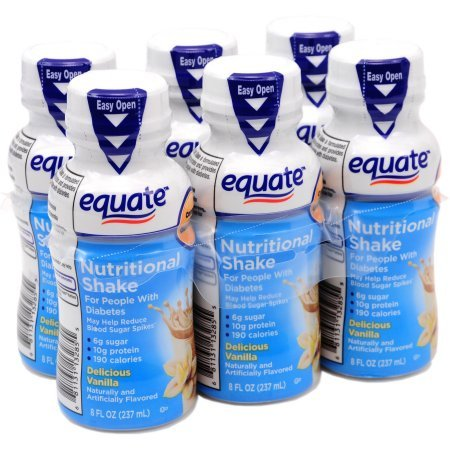 Equate delicious diabetic vanilla nutritional shake, 8 Oz, 6 Ct