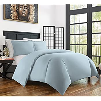Zen Bamboo Ultra Soft 3-Piece Rayon Derived From Bamboo Duvet Cover Set - Hypoallergenic and Wrinkle Resistant - Full/Queen - Sky Blue