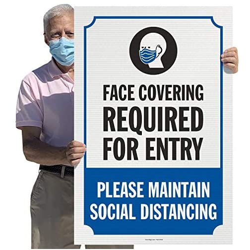 """SmartSign - EP1A """"Face Covering Required for Entry"""" Large Sign 