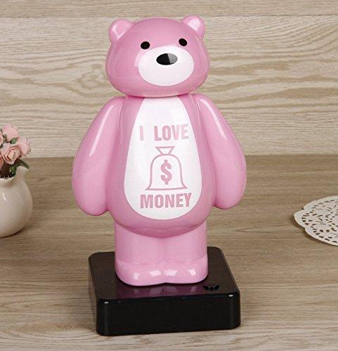 Goodscene Cartoon Piggy Bank Lighting Bear Piggy Bank Innovative Multifunctional Saving Bank Gifts For Adults Kids (Pink) by Goodscene