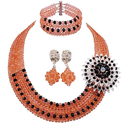 (laanc 5 Rows Nigerian African Handmade Crystal Beads Jewelry Set Costume Bridal Necklace (Peach,Black-1))