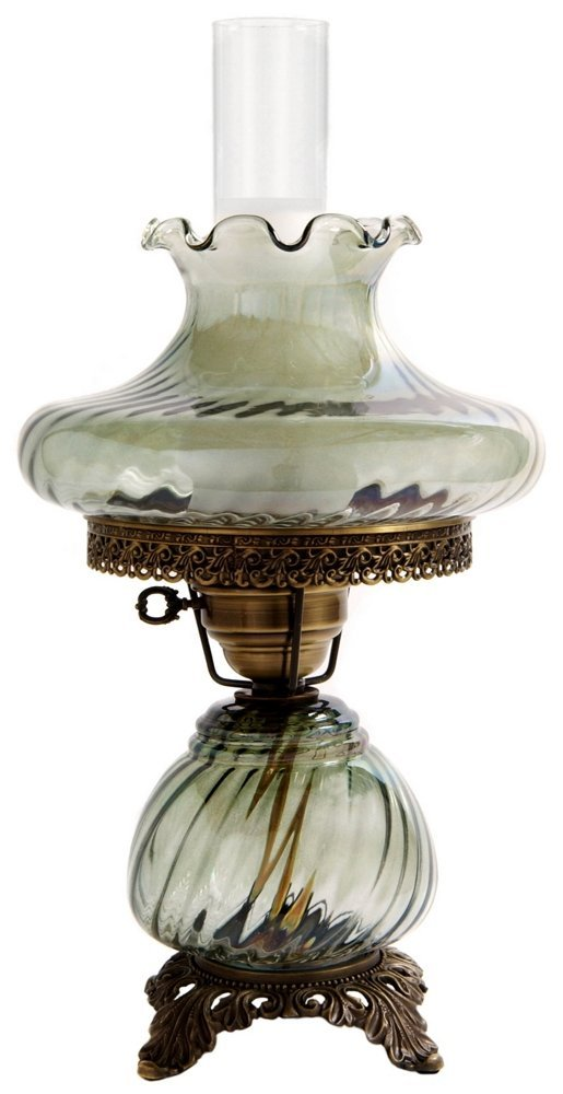 19.5 in. Swirl Optic Hurricane Table Lamp w 10 in. Tamoshanta Shade