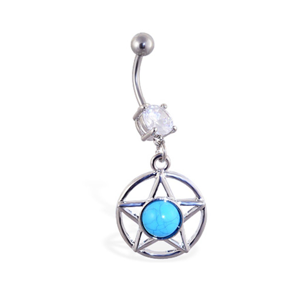 MsPiercing Belly Ring With Dangling Blue Stoned Star