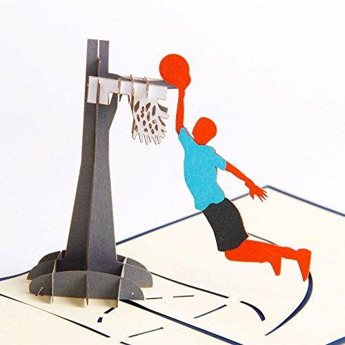 Paper Spiritz Pop up Dunk Basketball Greeting Card for Son Kids Baby Daughter 3D Graduation Birthday Card for Boys Thank You card Kids with Envelopes …