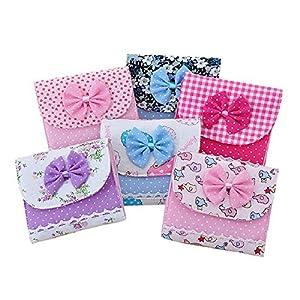 Cloth Menstrual Pads Menstrual Bowknot Cotton Sanitary Towel Napkin Pad Purse Holder Easy Bag Organizer (Random Color)