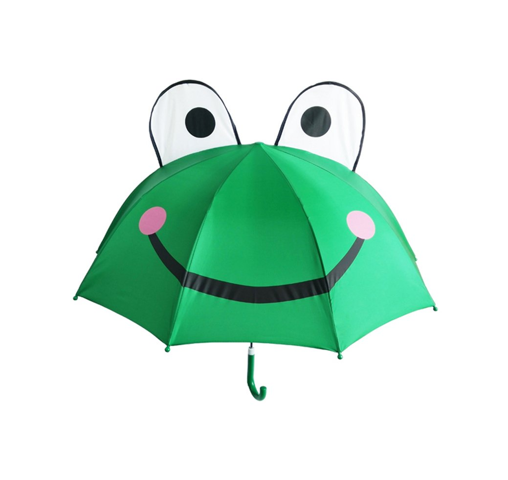 ADJOY9 Compact 3D Cartoon Prints Windproof 8-rib Canopy Kid's Light Rain Umbrella - Big-eye Frog CY