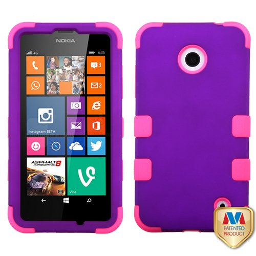 Asmyna Rubberized TUFF Hybrid Phone Protector Cover for Nokia Lumia 630 - Retail Packaging - Grape/Electric -