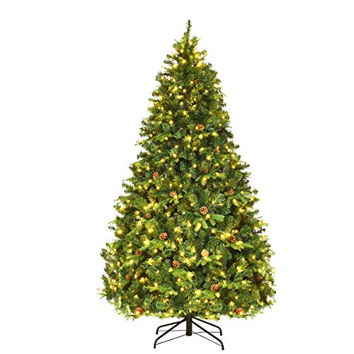 Goplus 7Ft Pre-Lit Artificial Christmas Tree, Premium Spruce Hinged Tree w/ 460 LED Lights & Pine Cones