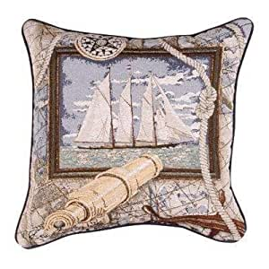 Simply Envogue Decorative Pillow : Amazon.com: Sailing Nautical Decorative Tapestry Toss Pillow by Simply Home: Home & Kitchen