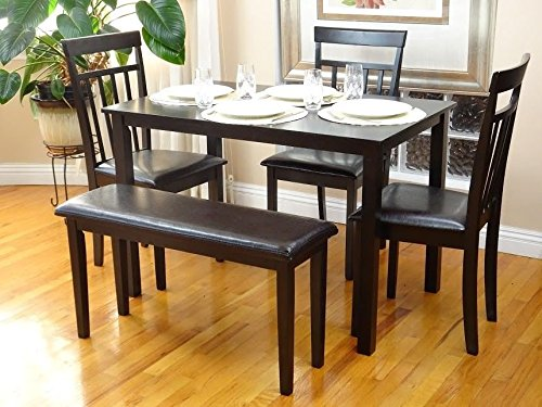 (Rattan Wicker Furniture Dining Kitchen Set of 5 Pcs Rectangular Table and 3 Wooden Chairs Warm 1 Stained Bench in Espresso Black Finish)