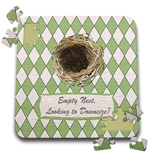 3dRose Beverly Turner Real Estate Client Relations Design - Empty Nest Looking to Downsize? Empty Bird Nest, Diamond Green Design - 10x10 Inch Puzzle (pzl_313299_2)