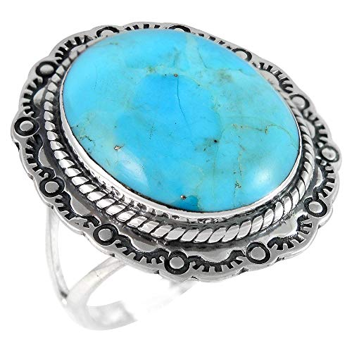 Turquoise Coral Sterling Ring - Turquoise Ring in Sterling Silver 925 Genuine Turquoise (10)