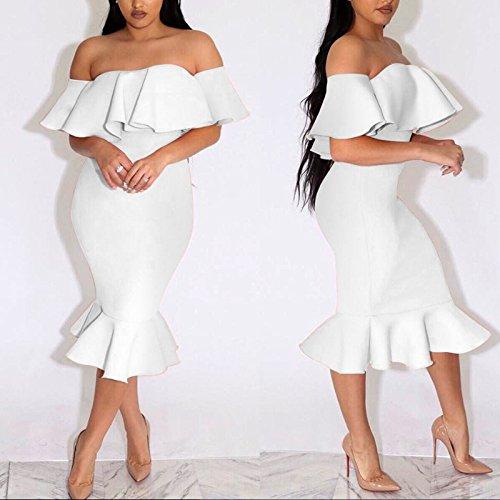 Dress Tirante Vestido Mujer de con Blanco Volante Boutiquefeel Midi Hombros Escote para sin HTxqBqwOg
