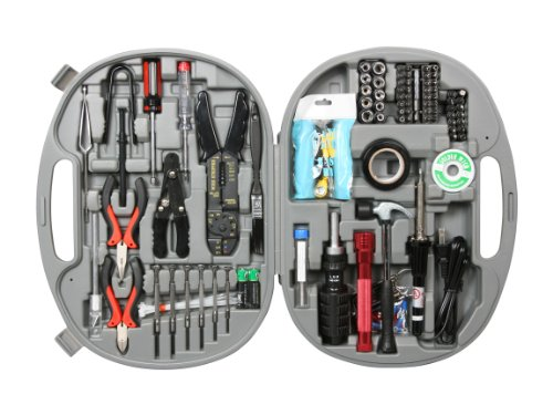 Rosewill Tool Kit RTK-146 Computer Tool Kits for Network PC Repair Kits Wire Stripper Soldering Iron Flashlight ESD Strap Nose Pliers Phillips Screwdriver Knife Hex Bits Torq Bits Star Bits