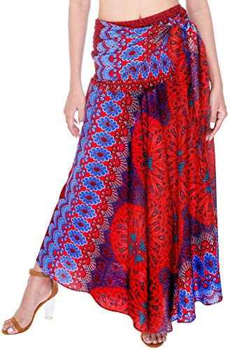 Joop Joop 2 in 1 Maxi Skirt and Dress Bohemian Loose Flowing Boho Summer Travel Beach Festival Lounge Casual Skirt (Plus Size, Red) -