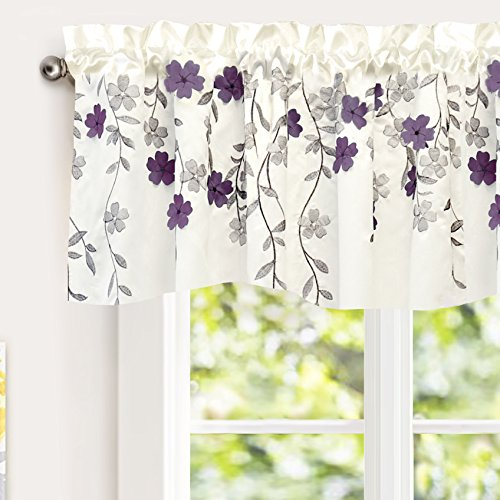 DriftAway Isabella Faux Silk Embroidered Kitchen Swag Valance Embroidered Crafted Flower Single 60 Inch by 18 Inch Plus 1.5 Inch Header Ivory Purple (Flower White Valance)