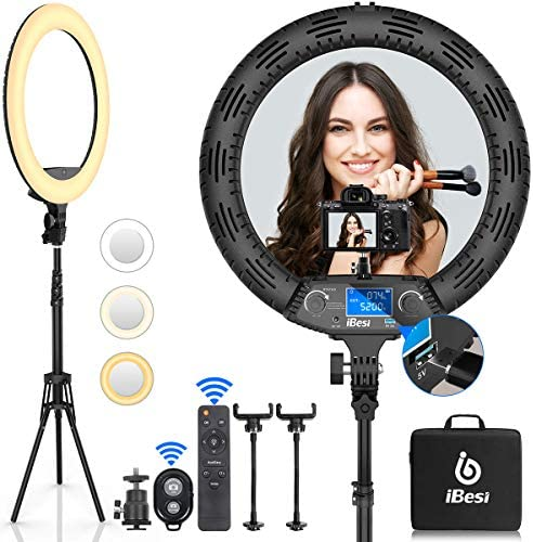 18'' LED Ring Light with Stand, Wireless Remote Control LCD Screen with Phone Holders & Three Hot Shoe Ports, 3200K-5500K Color Adjustment Range, for Selfies, Photography, Makeup, YouTube, Tiktok.